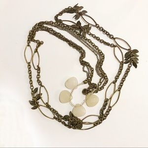 BoHo Chain Feathers Stone Long Necklace